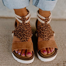 Roman Sandals Summer 2021 Leopard Wedge Heel Womens Sandals Open Toe Fish Mouth Ladies Shoes Beach Outdroor Female Footwear