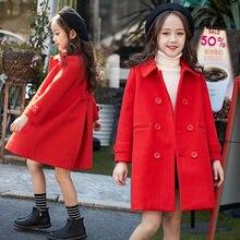 Красные шерстяные куртки для маленьких девочек пальто осенне