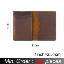Credit-Card Unisex Wallet Customized Crazy-Horse-Leather Id-Holders Business Brown Vintage