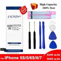 Batería de litio Original para iPhone 6 De Apple S 6 7 5S 5 baterías de repuesto Bateria de teléfono interna 3200mAh 3600mAh + herramientas gratis
