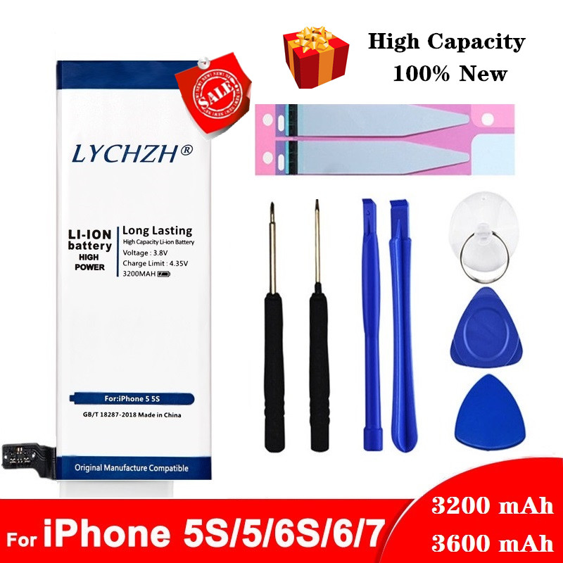 Original Lithium Battery For Apple IPhone 6S 6 7 5S 5 Replacement Batteries Internal Phone Bateria 3200mAh 3600mAh + Free Tools