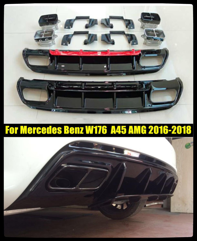 สำหรับ Mercedes Benz W176 Hatchback 4 ประตู 2013-2018 A45 AMG A180 A200 ด้านหลัง Diffuser สปอยเลอร์