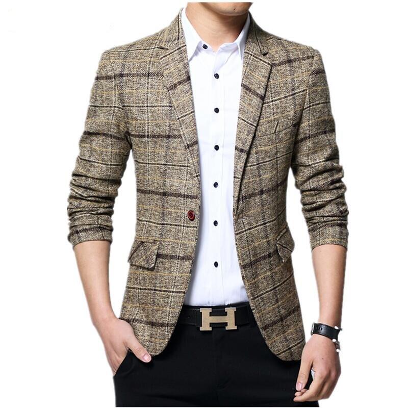 Suit Jacket Male 2019 New Listing Brand Clothing Jacket Men's Plaid Woolen Suit Jacket Fashion Business Slim Men's Casual Blazer