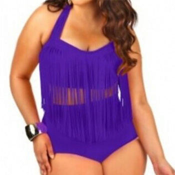 HOT Sale Plus Size Split Swimsuit Women Sexy Retro Padded Push Up Tassel High Waist Swimsuit Female biqiuni Bathing Suit 11