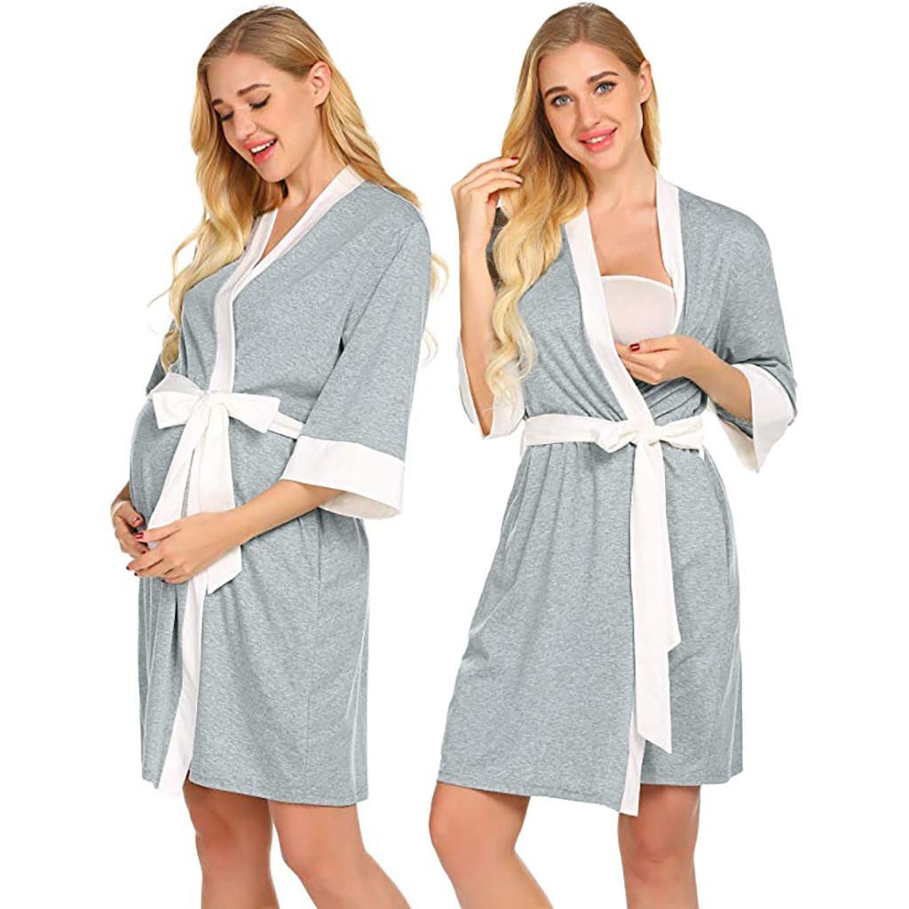 Maternity Nursing Robe Delivery Nightgowns Hospital Breastfeeding Maternity Clothes For Pregnant Women Vetement Femme Ropa Mujer