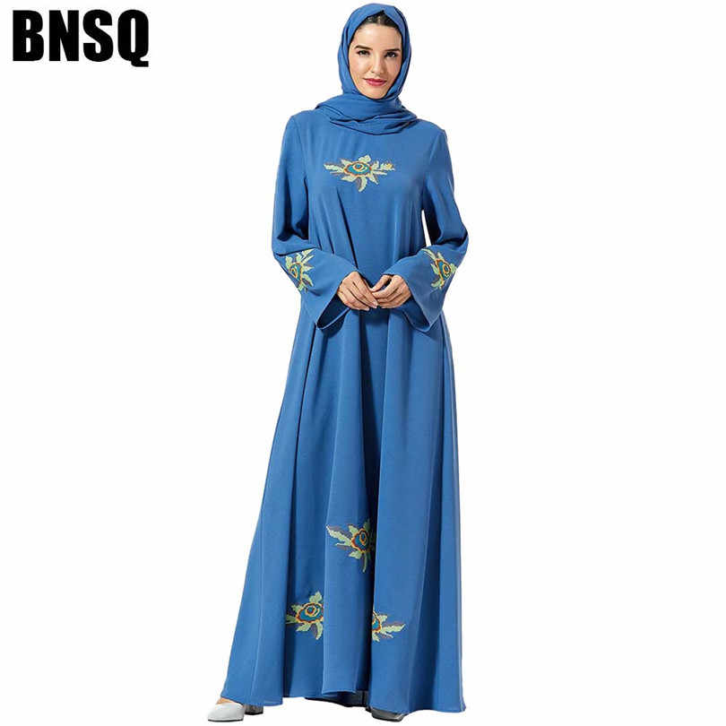 מסורתי Musilim נוח נשים של חגורת ארוך שרוול לאומי רקמה ארוך שרוולים מוסלמי מזדמן גדול נדנדה שמלה