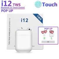 I12 oryginalny TWS bezprzewodowy zestaw słuchawkowy Bluetooth 5.0 słuchawki sportowe odporny na pot słuchawki dotykowy przenośny słuchawki douszne do iPhone'a i10 i20 i30 i60