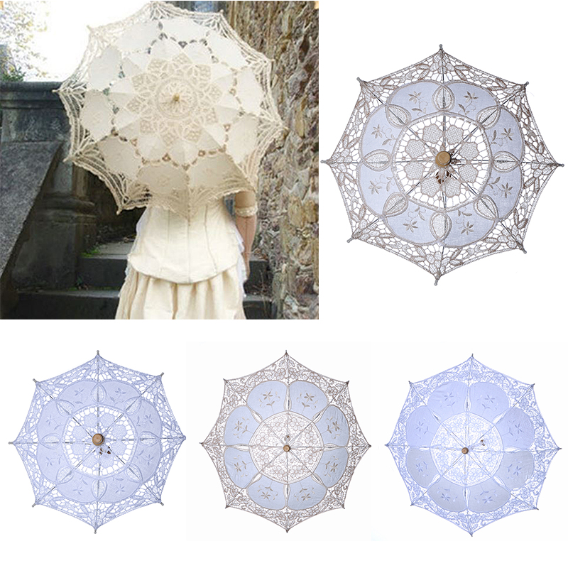 Bridal Umbrellas Wedding Floral Lace Umbrella For Women Romantic White Ivory Embroidery Parasol Umbrella Wedding Supplies D30