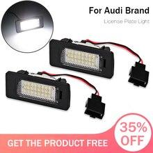 цена на LED License Plate Lights For Audi A1 A4 B8 A5 Q5 S5 TT S4 led car license plate frame light 6000K Number lamp lighting 2020 new