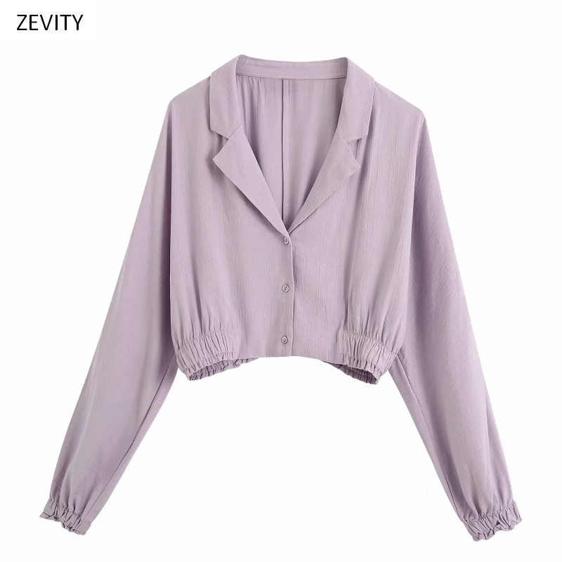 New Women Solid Color Turn Down Collar Purple Short Smock Blouse Female Lantern Sleeve Hem Elastic Shirt Chic Casual Tops LS6739