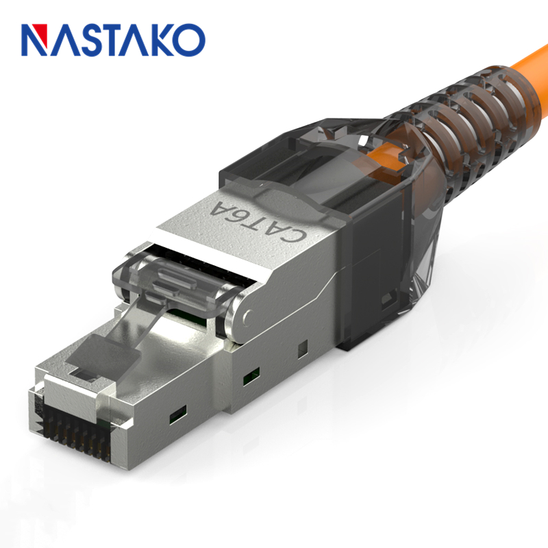 Toolfree RJ45 Cat6A Connector Shielded modular Plug Toolless rj45 keystone jack connector for Cat6 Cat6A Solid Network Cable image
