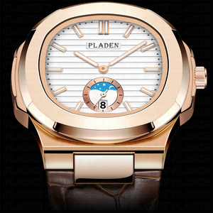 Image 3 - PLADEN Unique Mens Luxury Big Brand Watch Chronograph Moon Phase Male Watch Golden Swim Geneva Watches Zegarek Meski #PL1009