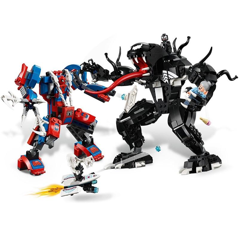 2019 Legoinglys Marvel Super Heros Set Spiderman Mech Venom Mecha Building Blocks Toys For Kids Compatible With Legoinglys 76115