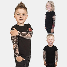 Baby Tops T-Shirts Long-Sleeve Toddler Girls Boys Cotton Tee Tattoo Patchwork One-Piece
