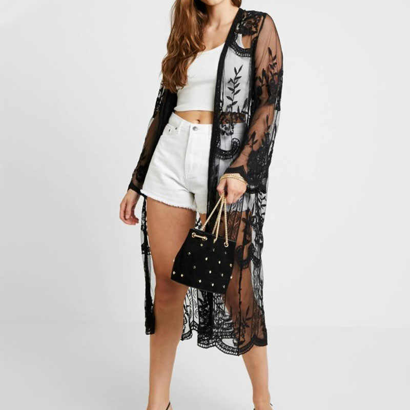 Spicylace женский Высококачественный кружевной кардиган с цветочным узором, шаль с длинным рукавом, пальто, пляжная одежда, открытое кимоно, кардиган, Длинные Блузки, топы