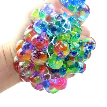 1pcs LED Funny Grape Squeeze Ball Mesh Stress Relief Toy for Kids Adult Glow in the Dark Toys Anxiety Relief Stress Toy 2019 dinosaur squishy mesh ball grape squeeze relief fidget autism stress toys anti stress dinosaur grape ball kids toys gifts