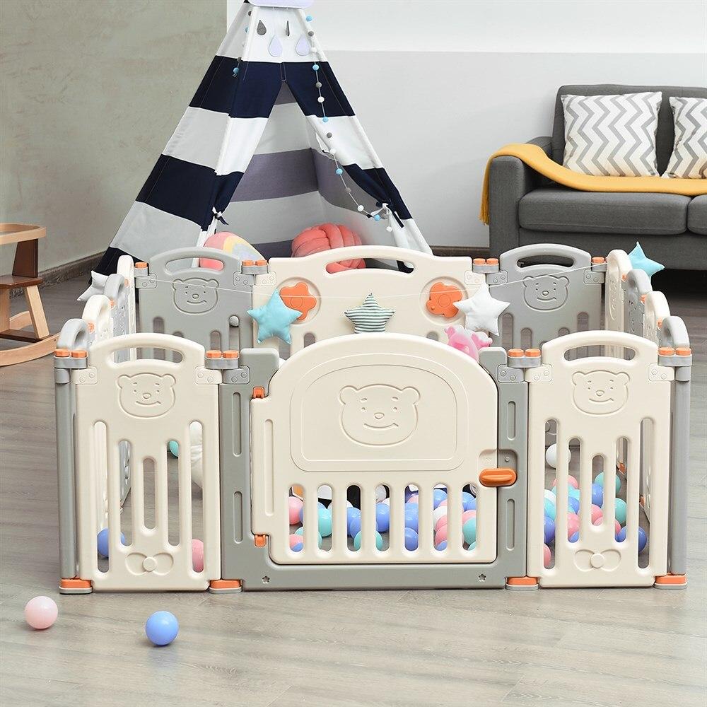 Foldable Baby Playpen 14 Panel Activity Center Safety Child Yard W/ Lock Door