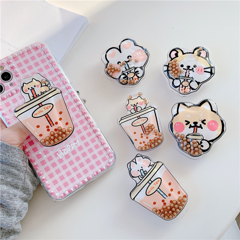Cute Liquid Quicksand Folding Stand For Mobile Phone Holder For IPhone 11 7 For Samsung For Huawei Cartoon Animal Grip Kichstand