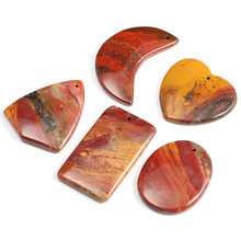 5Pcs New Natural Stone Red Semi-Precious Stones Pendants Temperament Making for Jewelry Necklace Accessories Gift For Women