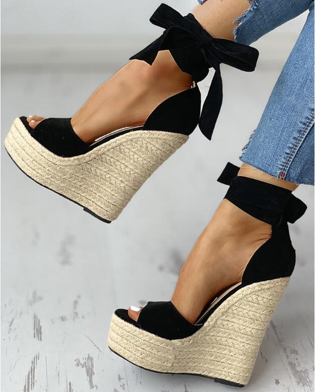 Mega Discount B651ed Women Summer Butterfly Knot Solid Black Open Toe Sandals Fashion Platform High Heels Wedge Shoes Ankle Bowtie Dress Shoes 35 42 Cicig Co