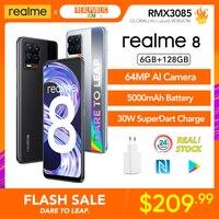 Realme 8 6GB 128GB 러시아어 글로벌 버전 30W SuperDart 충전 Helio G95 AMOLED 64MP 카메라 5000mAh 배터리 NFC 스마트 폰