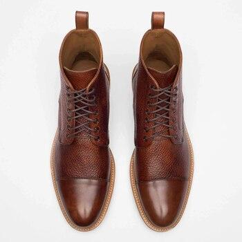 Fashion Men Shoes Top Quality Vintage PU Leather Plaid  Boots Lace Up Mens Boots Casual Zapatos De Hombre F544