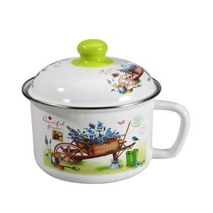 1,2л с крышкой, эмалированная миска, миска для свежей еды, Студенческая Милая стеклянная крышка, чашка для лапши быстрого приготовления, Ланч-...