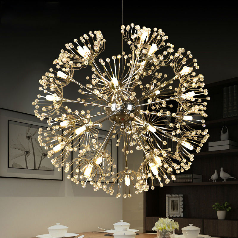 Dandelion Crystal Pendant Lamp Kitchen Dining Room Suspended Luminaire Indoor Home LED Tree Branch Chandelier Fixtures