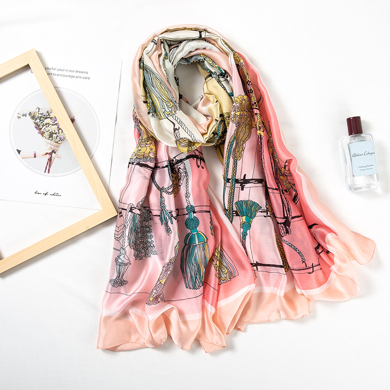 Classic Women <font><b>Silk</b></font> <font><b>Scarf</b></font> <font><b>180*90CM</b></font> Female Horse Shawl Sunscreen Soft Foulard Muffler Bandanna Holiday Gift Headband <font><b>Scarves</b></font> image