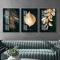 Настенный постер с абстрактными золотыми растениями и листьями, Картина на холсте в современном стиле, оригинальное изображение гостиной