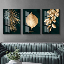Canvas Art Poster Painting Wall-Picture Leaves Abstract Living-Room Golden-Plant Modern-Style
