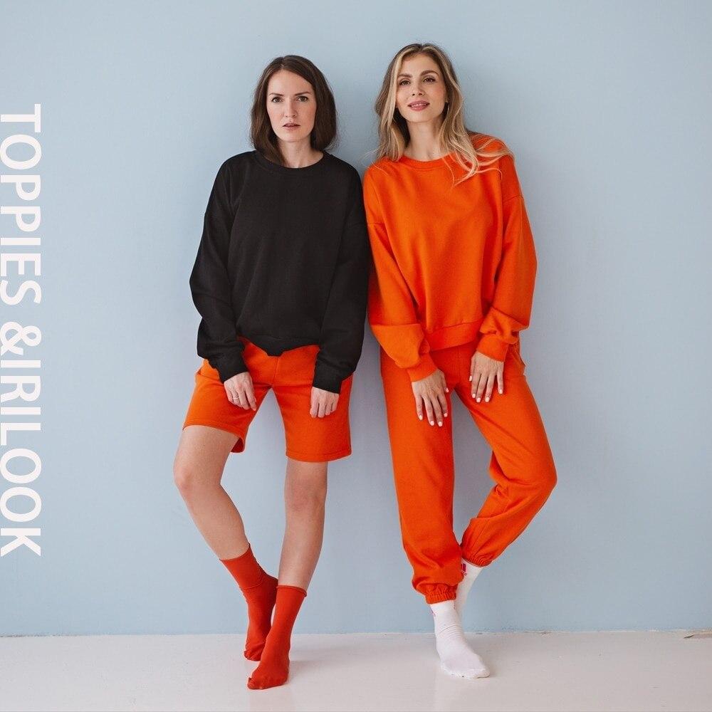 Toppies 2021 Casual Shorts Set Pants Suit Women Tracksuits Harajuku Sweatshirts Elastic Waist Pencil Pants High Waist