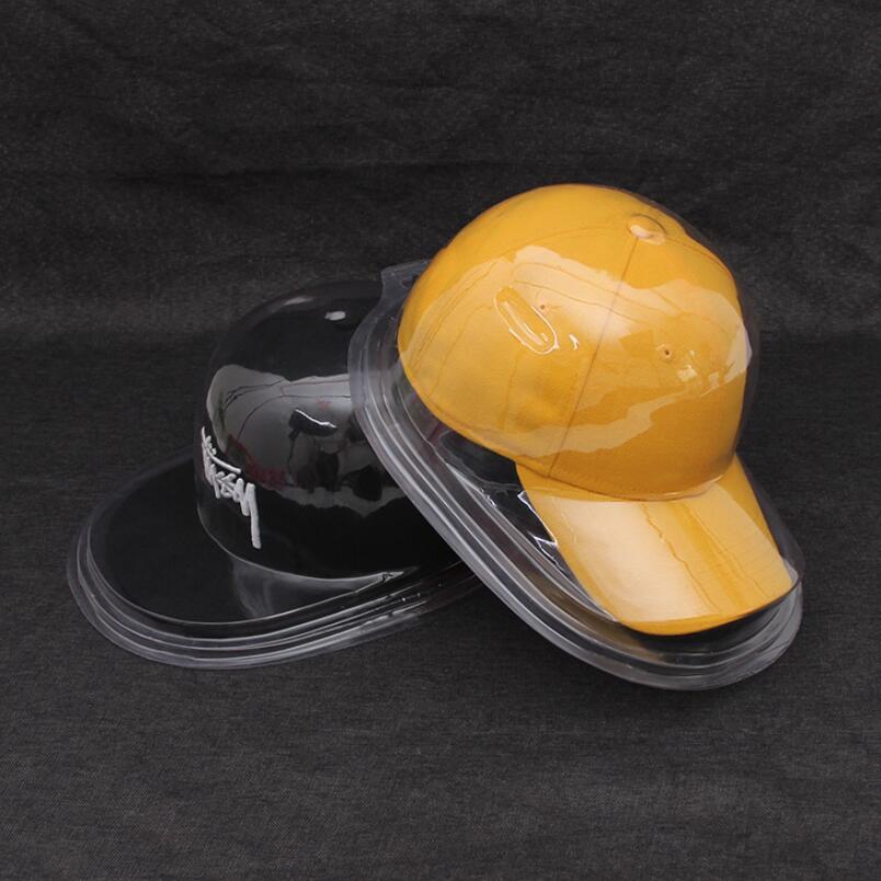 Chapéu de beisebol do pvc caso de plástico transparente capa snapback hat display caso com borda plana e borda curvada