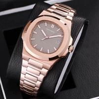 Rose gold mens mechanical sweep watches sapphire glass gray dial stainless steel bracelet sports watch Glide sooth second hand