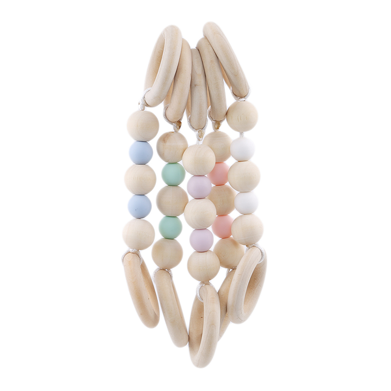 Baby Teething Bracelet Safty Original Wood Beads Nursing Beech Chewable Teether For Mother And Baby BPA Free Safe