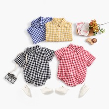 Baby Summer Clothing Newborn Infant Bebe Boy Girl Plaid Romper Clothes Short Sleeve Cute Fashion Summer Outfit Cotton Jumpsuit