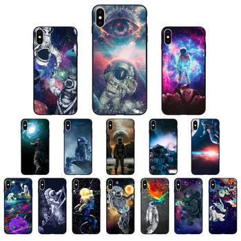 YNDFCNB Trippy Art aesthetic Space astronaut Phone Case for iphone 11 12 Mini Pro Max X XS MAX 6 6s 7 8 Plus 5 5S 5SE XR SE2020 image