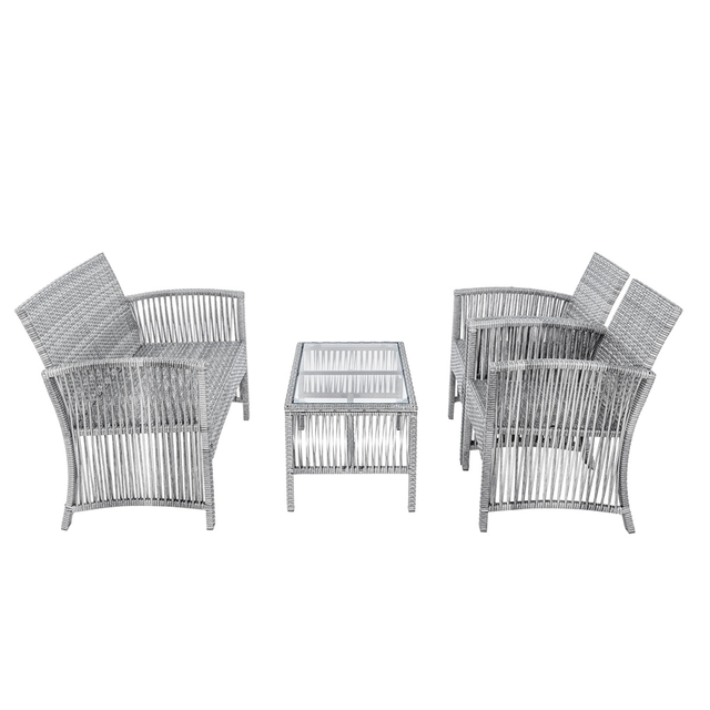 8 Pieces Outdoor Furniture Rattan Chair & Table Patio Set  3