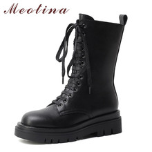 Meotina Motorcycle Boots Women Shoes Real Leather Platform High Heel Mid-Calf Boots Zip Lace Up Block Heels Short Boots Lady 40 new women fashion mid calf boots for spring autumn pointed toe high heel cross tied black solid shoes lady lace up thin heels
