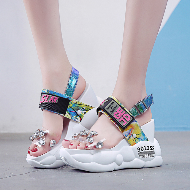 Lucyever 2020 Phụ Nữ Mùa Hè Sandals Thời Trang Trong Suốt Kim Cương Nêm Sandal Kim Cương Giả Giày Cao Gót Chun Giày Đế Người Phụ Nữ