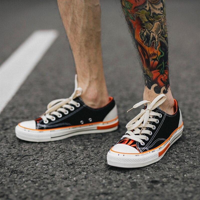 Jaune chaussures décontractées hommes coton toile chaussures à lacets hommes chaussures de marche nouveau Plimsolls chaussures pour homme été respirant baskets hommes - 2