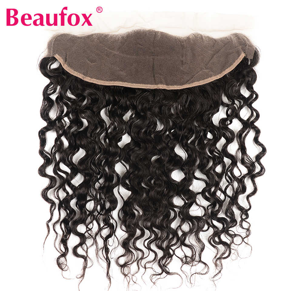 Beaufox Brazilian Water Wave Ear To Ear Lace Frontal Closure 100% Human Hair Frontal Natural Black Remy Free Part