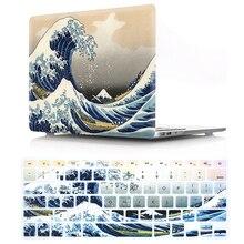 Padrão hd portátil caso duro para macbook ar pro retina 12 13 15 16 15.4 13.3 polegada com teclado capa para ar a1466 a1932 2018