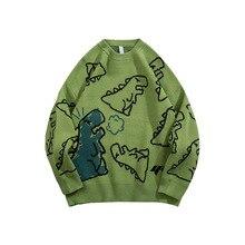 Sweater Men Harajuku Fashion Knitted Hip Hop Streetwear Dinosaur Cartoon Pullover O-neck Oversize Casual Couple Male Sweaters