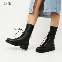 Plus Size 34-40 Genuine Leather Women Shoes Chunky Motorcycle Boot Lace-Up Fashion Ankle Boots Low High Heels Punk Combat Lovers