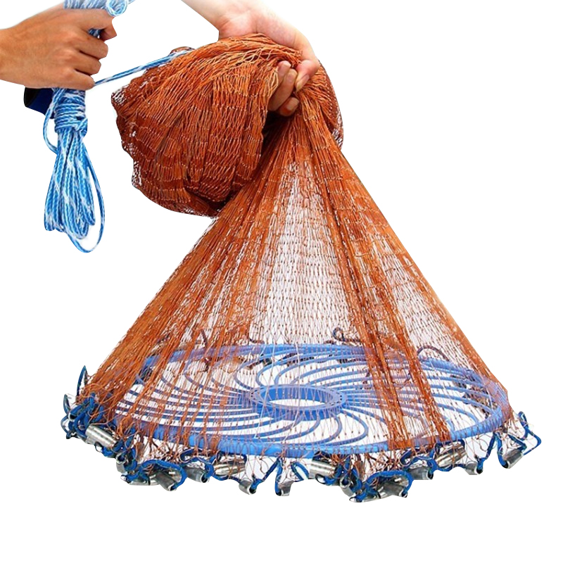 XC 3M-7.2M USA Hand Cast Net With Flying Disc Easy Throw Fly Cast Fishing Net Throw Network Small Mesh Hunting Trap Fly Nets