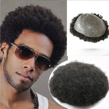 Toupee Curl Natural-Hair-Replacement-System Human-Hair Afro Black African-America Mens