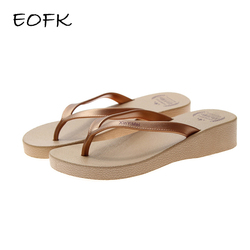 EOFK Women Flip Flops Wedges Summer Outside Slippers Soft Shoes Casual Shinny Beach 3.5 Cm Height PVC Solid Bling PU