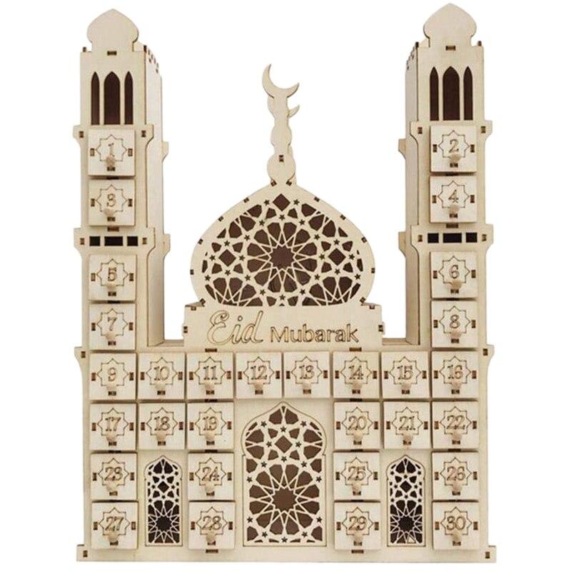 Eid Mubarak Countdown Calendar DIY Wood Ramadan Decoration Wooden Small Candy Gift Drawer for Home Party Decoration