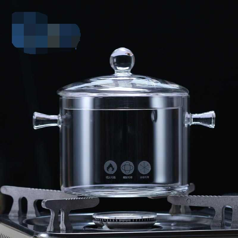 O fogo queimará o potenciômetro de vidro resistente ao calor que stewing a sopa poy ferve o potenciômetro de água borosilicate o punho duplo tigela de salada de vidro